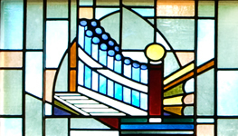 photo of stained glass pipe_organ